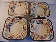 4 Vintage Woods Burslem Bedford Dessert Bowls.Hand Decorated Cobalt Blue.Square