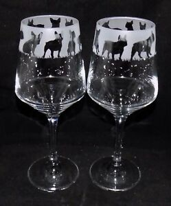 """New Etched """"FRENCH BULLDOG"""" Wine Glass(es) - Free Gift Box - Large 390mls Glass"""
