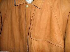 MARLBORO Vintage Brown Soft Leather Winter Warm Heavy Coat BOMBER Jacket Men's M