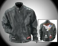 Live to Ride Black Leather Motorcycle Jacket with Patches & Nylon Lining
