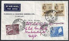 North Borneo 1956 Airmail Wandercover Labuan to Delft