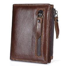 Men's Vintage Genuine Leather Short Wallet Card Holder Coin Pocket Purse Zipper