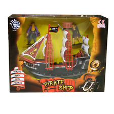 Kids Pirate Ship & Figures Play Set Toy Sail Flag - NEW