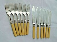 ANTIQUE FAUX BONE HANDLED SILVER PLATED FISH SERVERS COOPER Bros Set 6
