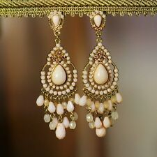Costume Fashion Earrings Chandelier Pink Pale Mini Pearl Vintage Gift Events D2
