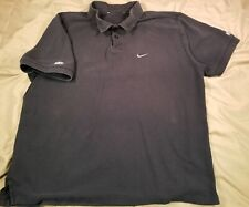 NIKE Black Cotton Golf Polo Embroidered Logo Men's L XL