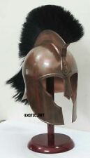 Medieval TROY HELMET Black Plume with Copper Antique Finish HALLOWEEN SCA LARP