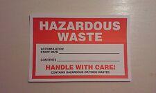 Hazard Labels, Hazardous Waste Handle With Care, 4X6, Adhesive Vinyl pack of 100