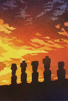 Watercolor painting of Moai statues on Easter Island, Chile (print).