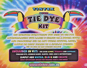 Tie Dye Tintex Everything Kit Includes 3 Vibrant Colours Fabric Art Supplies AUS