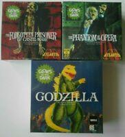 Lot of 3 Atlantis Glow Monster Model Kits Aurora Godzilla Phantom Opera Prisoner