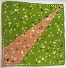 "Vintage Silk Hankie Handkerchief Magic Oil Lamp Green Snowflakes 16.5"""