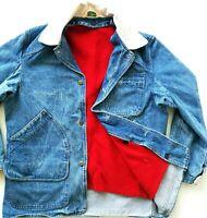 HOT Men L.L.BEAN @ UTILITY CHORE FLANNEL BLANKET LINED Denim COAT JACKET Jeans M