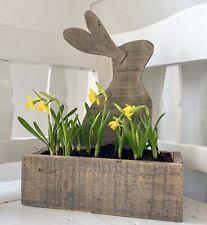 Rustic Wooden Rabbit Hare Planter Home Decor