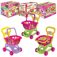 Kids Shopping Trolley & Basket Role Play Toy Plastic Fruit Food Utensil Market