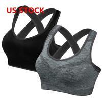Women Yoga Sports Bra Fitness Stretch Workout Seamless Padded Cross High Impact