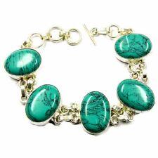 "140.00Cts Tibet Turquoise Gemstone Silver Overlay Handmade Classic Bracelet 8"""