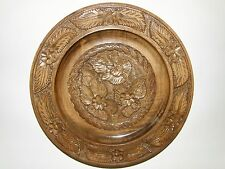 VINTAGE HAND CARVED WOODEN WALL PLATE.