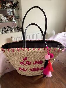 Large French Market Straw Woven Shopping Basket Zip Up Long Handles Beach Bag