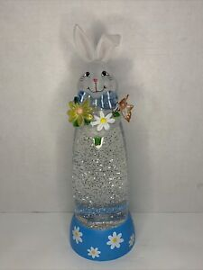 "Spring Bunny Glitter Globe Lamp Light Spinning Water battery op 14"" tall"