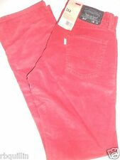 NWT 514 Levi's 30 x 32 SLIM Fit Lower Rise Straight Leg Rusty Red Corduroy Pants