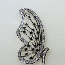 18K White Gold Black & Clear CZ Lady Fashion Necklace Butterfly Pendant P1496-1
