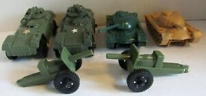 6 Vintage Processed Plastic, Timmee Toys, Misc. Military Tanks & Howitzers