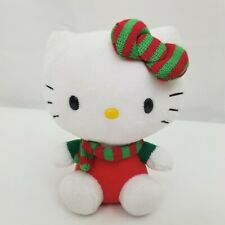 """Hello Kitty Christmas Plush Stuffed Cat Red Green Scarf Hair Bow Holiday 2012 6"""""""