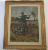 ANTIQUE MILITARY PAINTING RUSSIAN ? GERMAN SIGNED CZAK ? LARGE OIL 1910 SOLDIER