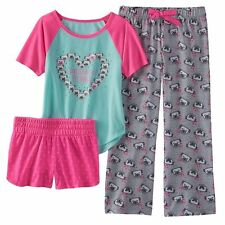 Girls Pajamas Set PUG Dog 3 Piece XS 5/6 NEW Shirt Pants & Shorts NWT Pajama Pjs