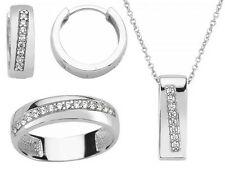 Schmuckset 925 Sterling Silber Zirkonia Schmuck Anhänger Kette Ohrringe Ring