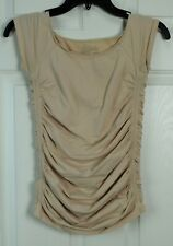 The Limited M Beige Ruched Gathered Sleeveless Cami Tank Top