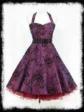 dress190 Dark Purple 50s Halter Floral Rockabilly Party Ball Prom Dress UK 8-26