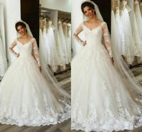 Elegant Long Sleeve Wedding Dresses Princess Appliques Lace V Neck Bridal Gowns