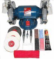 """200W Bench Grinder, 6"""" Metal Grinding and 4"""" Metal Polishing Kit"""