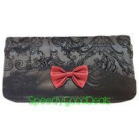 Banned Elegant Red Bow Gothic Steampunk Wallet Purse Flocked Skull Ivy Black