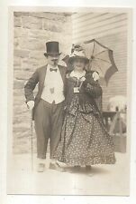 RPPC Couple Dressed Up in 1800s Costumes, Top Hat & Cane Real Photo Postcard