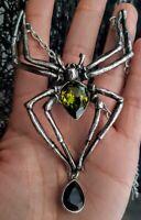 "Alchemy Gothic Pendant  ""Emerald Venom"" Spider Ladies Alternative Necklace Gift"