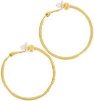 """Gold Tone Thin Hoop Pierced Look Clip On Earrings 1 1/2"""""""