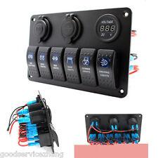 6 Gang LED-Blue Waterproof White Rocker Switch Panel For Marine/ Boat/ Caravan