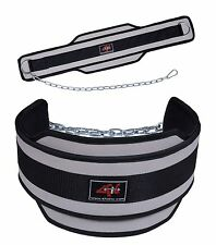 4Fit NEOPRENE DIPPING BELT/ WEIGHT LIFTING/ GYM DIP BELT WITH METAL CHAIN B-Gray