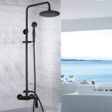 Bathroom Black 8' Rainfall Shower Head 2-functions  Mixer faucet Tap Units