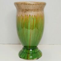 """Vintage 8 1/2"""" Art Pottery Vase Green With Gold & Brown Drips"""