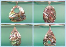 Wholesale 4 PCS Abalone Shell 925 Bali Sterling Silver Handmade Pendants