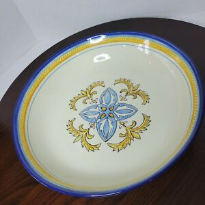 """Pottery Barn Isabella Large Pasta Serving Bowl Yellow Blue Made In Portugal 12"""""""