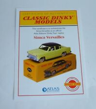Atlas/Dinky Toys No. 24Z Simca Versailles, - Certificate of Authenticity, Mint