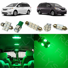 11x Green LED lights interior package kit for 2011-2013 Toyota Sienna TS3G