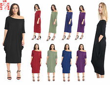 Womens Ladies Bardot Baggy Off Shoulder Oversized 2 Pocket Midi Parachute Dress