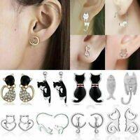 Cute Stainless Steel Crystal Pearl Cat Animal Ear Stud Women Earrings Jewelry