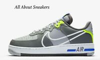 """Nike Air Force 1 React """"Wolf Grey/Smoke """" Men's Trainers Limited Stock All Sizes"""